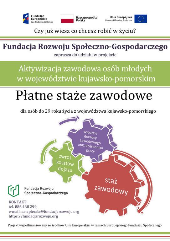 Zdjęcie przedstawia informacje o projekcie Płatne Staże Zawodowe