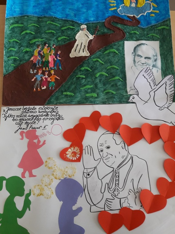 Wykonana praca plastyczna prezentująca postać Jana Pawła II.