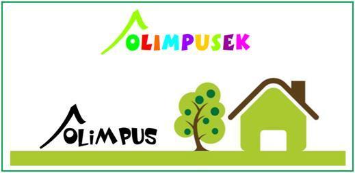 Zdjęcie przedstawia napis: Olimpusek i zielony domek i drzewo.