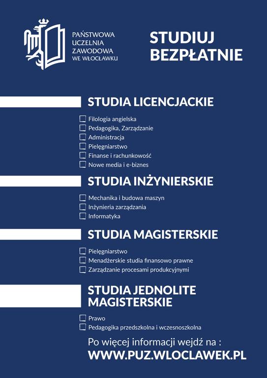 Plakat Państwowej Uczelni Zawodowej z lista kierunków do studiowania