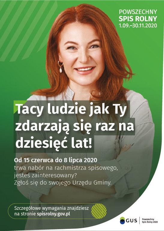 Plakat związany z naborem na rachmistrzów powszechnego spisu rolnego.