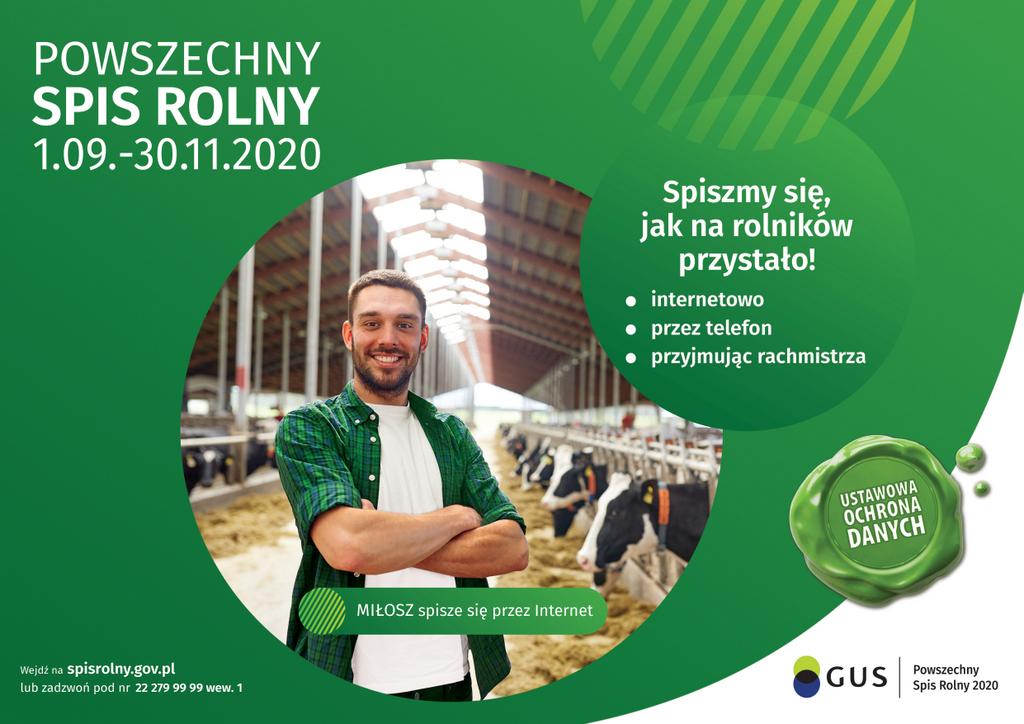 Ulotka informacyjna przedstawiająca wytyczne odnośnie powszechnego spisu rolnego