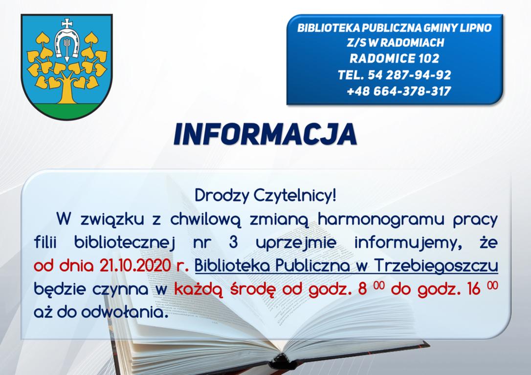 Informacja o zmianie godzin pracy biblioteki w Trzebiegoszczu na terenie Gminy Lipno