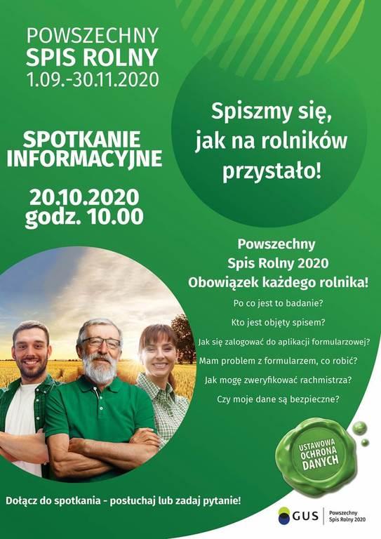 Zielony plakat informacyjny o treści zgodnej z artykułem. Logo GUS.