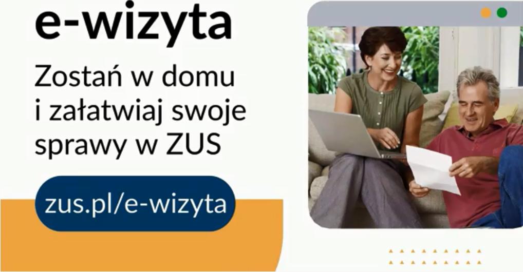 Dwoje ludzi trzymających laptopa. Informacja tekstowa o wizycie elektronicznej w ZUS.