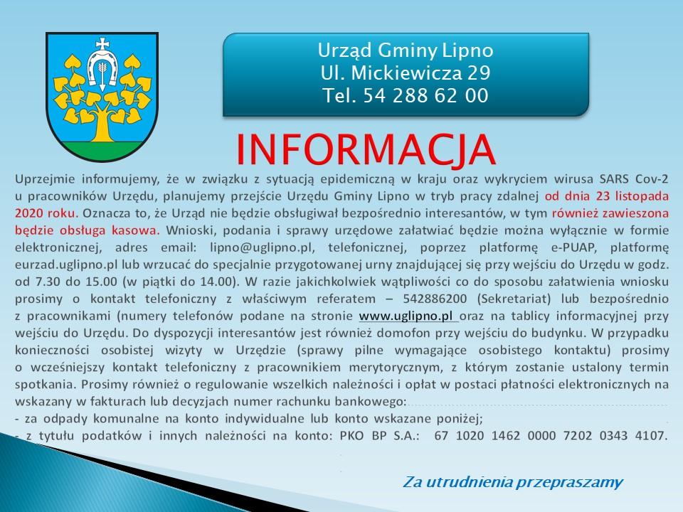 Zmiana organizacji pracy Urzędu Gminy Lipno