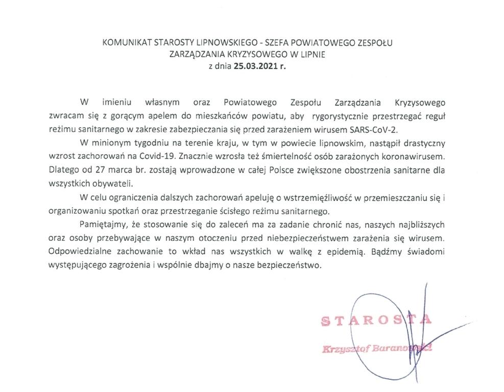 Skan dokumentu apelu starosty w sprawie przestrzegania reżimu sanitarnego