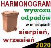 Odbiór odpadów sierpień-wrzesień 2020