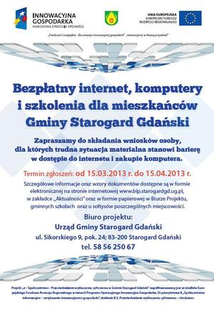 PROGRAM  e – Społeczeństwo - Przeciwdziałanie wykluczeniu cyfrowemu w Gminie Starogard Gdański