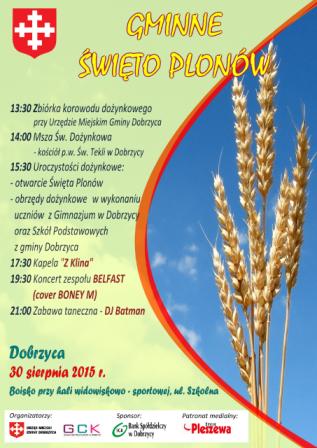 Plakat Dożynek Gminnych Dobrzyca 2015