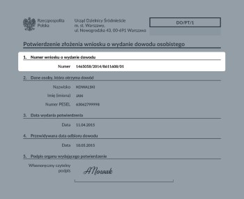 Zdjęcie przedstawia potwierdzenie wniosku o wydanie dowodu osobistego