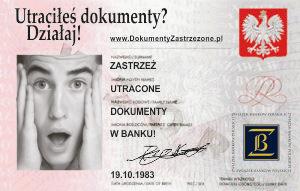 Zdjęcie przedstawia informację o zastrzeżeniu dokumentów