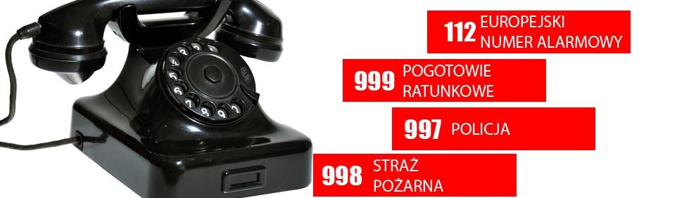 Zdjęcie przedstawia inofrmacje o numerach telefonów alarmowych