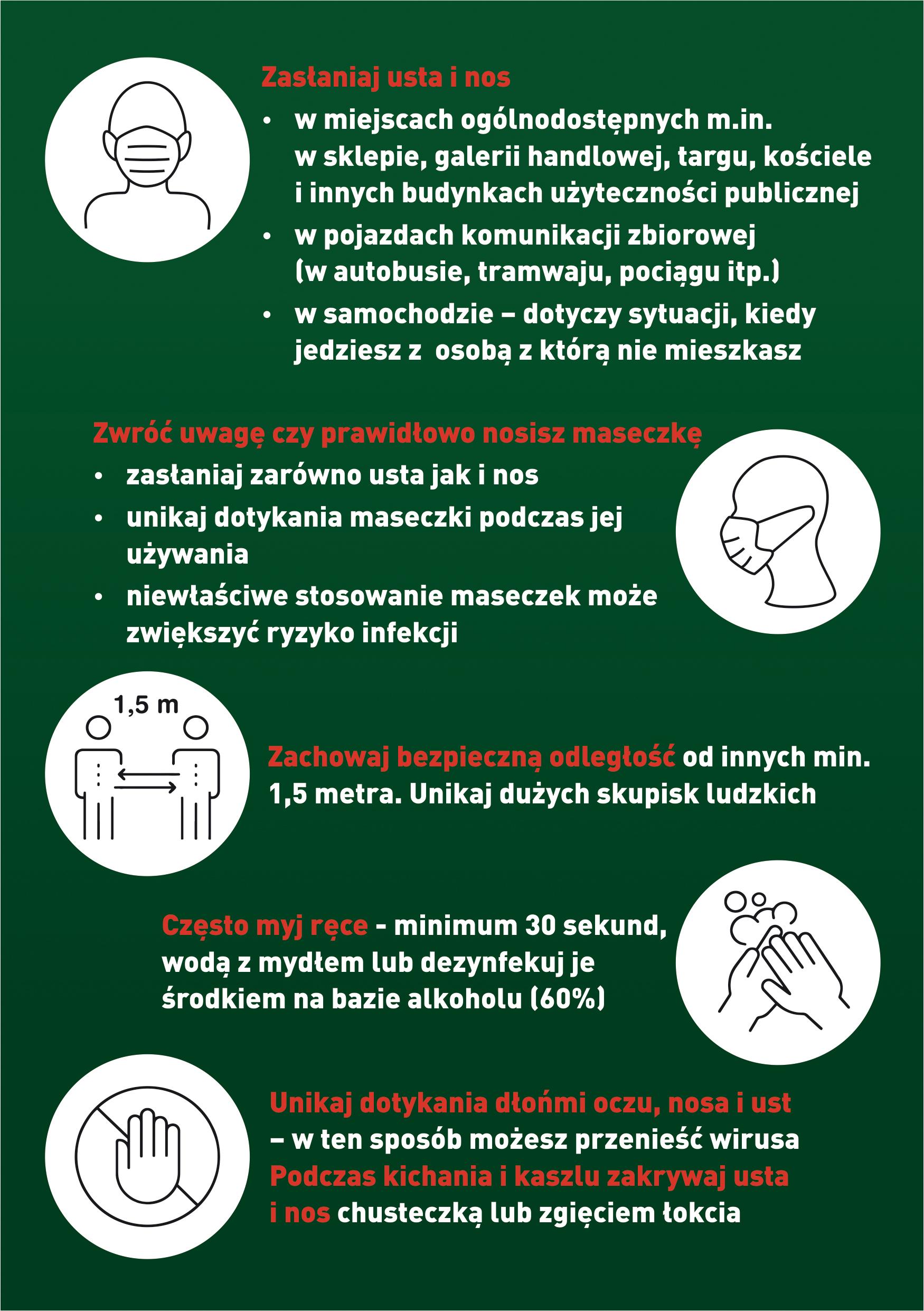 Koronawirus przestrzeganie podstawowych zasad bezpieczeństwa i higieny