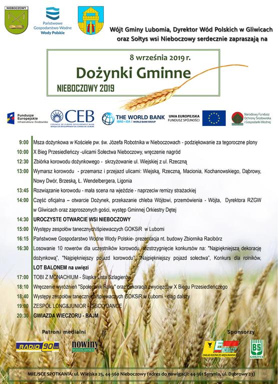 Plakat przedstawia program gminnych dożynek, które odbędą sie 8 września 2019 roku w Nieboczowach.
