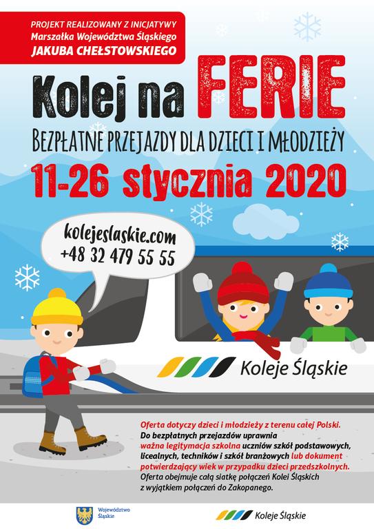 Zdjęcie przedstawia bezpłatne przejazdy dzieci i młodzieży od 11 do 26 stycznia 2020 roku.