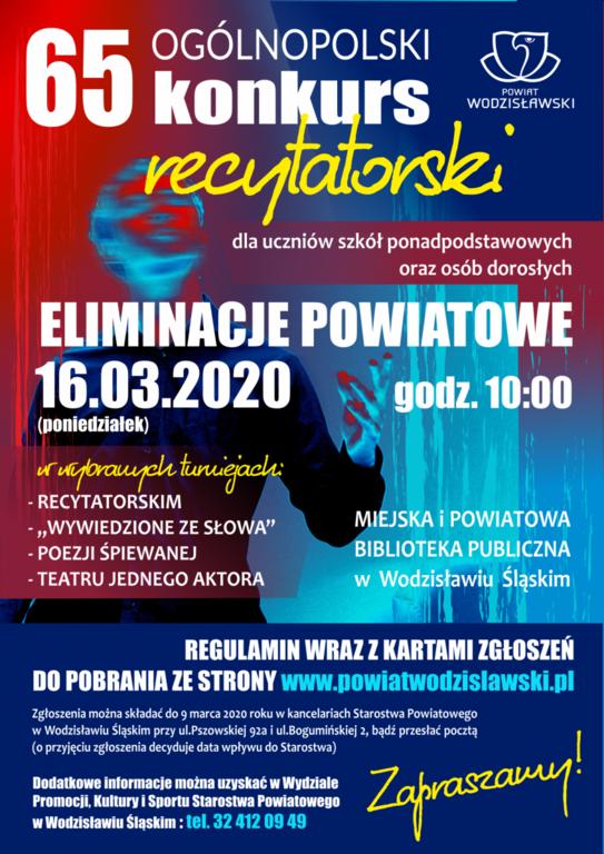 Plakat przedstawia 65 Ogólnopolski Konkurs Recytatorski, który odbędzie się 16 marca 2020 roku o godzinie 10 w miejskiej i powiatowej bibliotece publicznej w Wodzisławiu Śląskim