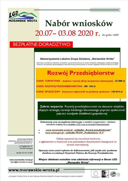 Plakat przedstawia promocję ogłoszonych konkursów dotyczących dofinansowania w ramach tworzenia i rozwoju przedsiębiorstw