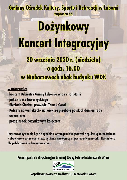 Plakat zawiera informacje na temat koncertu, który odbędzie się 20 września 2020 roku w Nieboczo