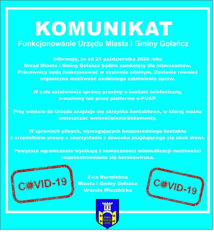Komunikat dotyczący funkcjonowania Urzędu Miasta i Gminy Gołańcz