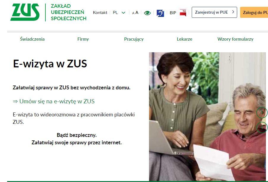 Obraz informujący o E-wizycie w ZUS