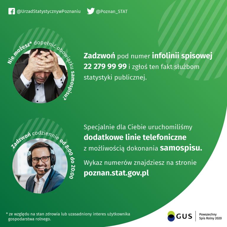 Plakat informujący o nowych liniach telefonicznych ułatwiających dokonanie samospisu