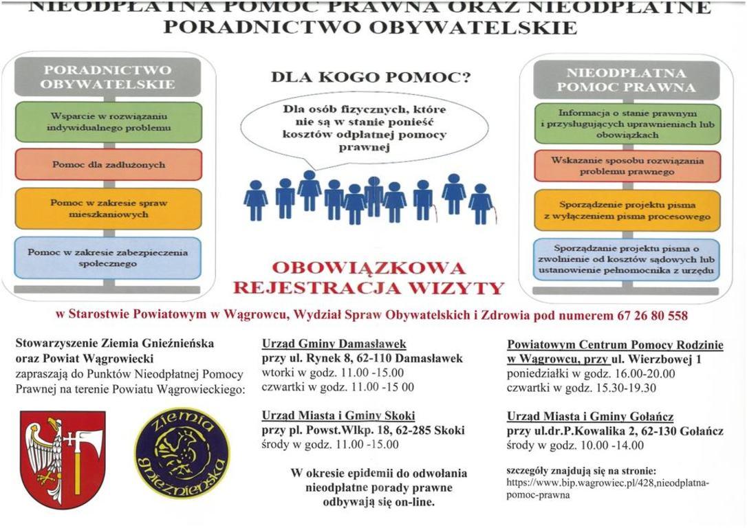Nieodpłatna pomoc prawna oraz nieodpłatne poradnictwo obywatelskie