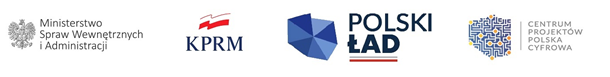 Baner z logotypami MSWiA, KPRM, Polskiego Ładu oraz Centrum Projektów Cyfrowa Polska