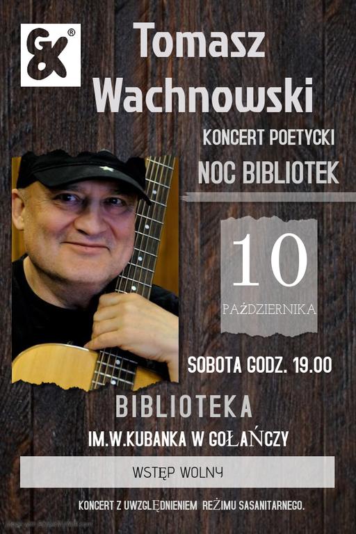 Plakat przedstawiający Wachnowskiego oraz miejsce i godzinę odbywania się wydarzenia