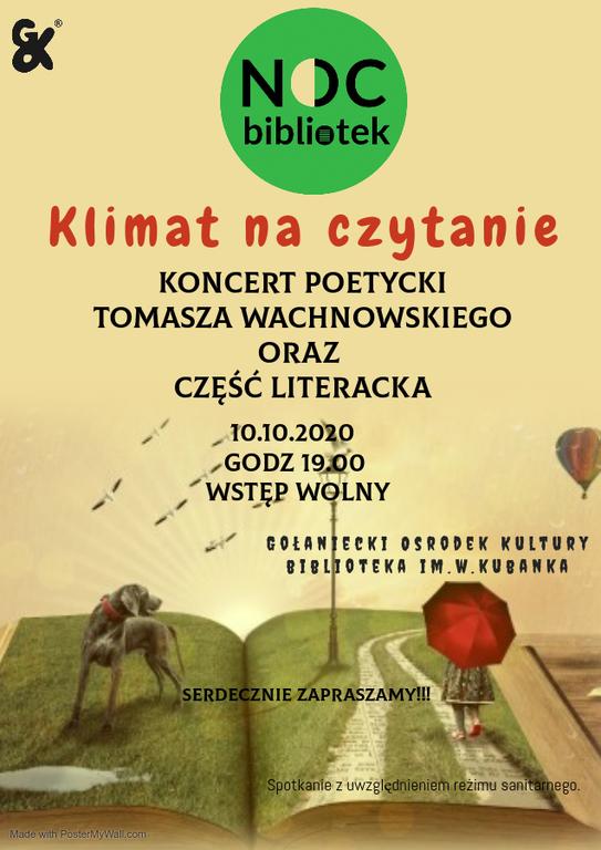 Plakat przestawiający informacje o koncercie Wachnowskiego oraz części literackiej
