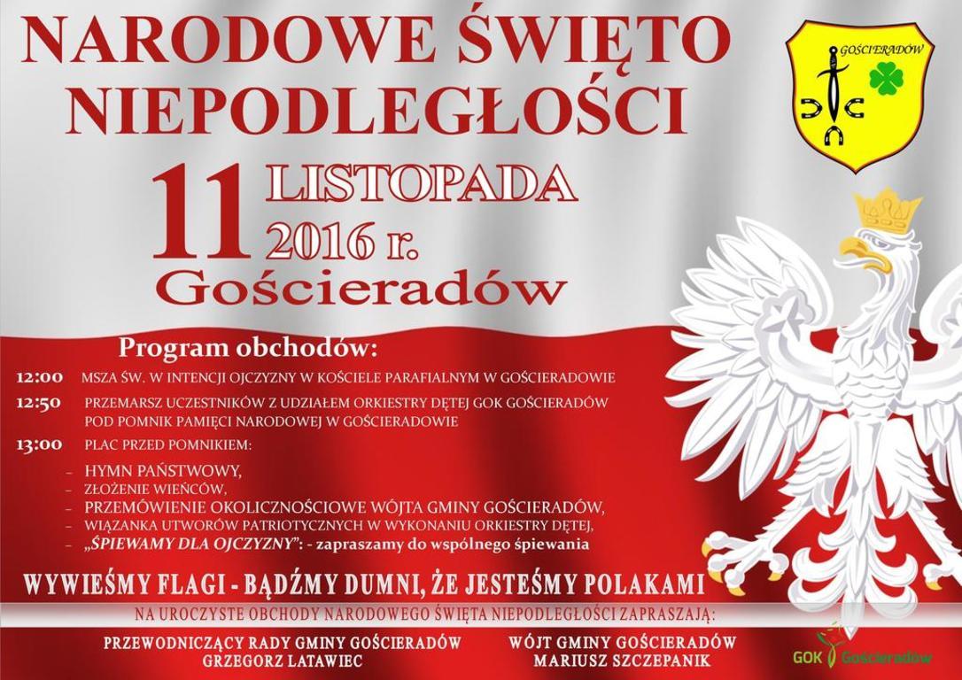 Gmina Gościeradów Narodowe święto Niepodległości