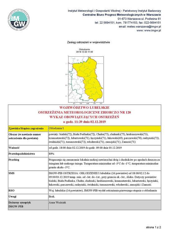 Prognozuje się zamarzanie lokalnie mokrej nawierzchni dróg i chodników po opadach deszczu ześniegiem (link otworzy duże zdjęcie)