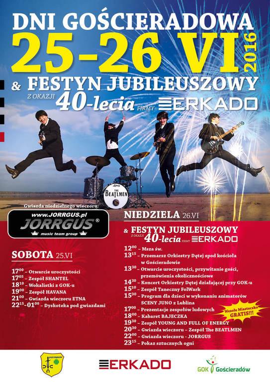 Plakat zapraszający na Dni Gościeradowa 25-26 czerwca wraz z harmonogramem. (link otworzy duże zdjęcie)