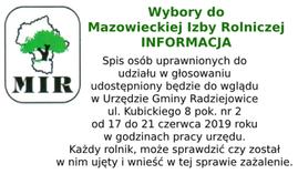 Informacja Mazowieckiej Izby Rolniczej