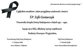 Kondolencje Zofia Gontarczyk