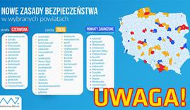 Mapa powiatów objętych obostrzeniami w związku z COVID-19