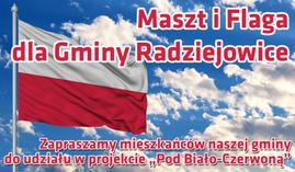 Ilustracja - projekt Pod Biało-Czerwoną, flaga i maszt dla Gminy Radziejowice