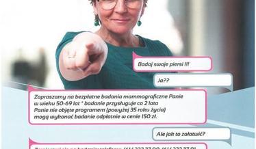 Plakat, zaproszenie na badanie mammograficzne