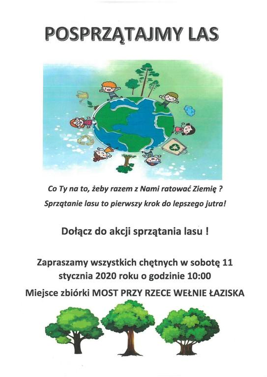 Plakat o akcji sprzątania lasu (link otworzy duże zdjęcie)