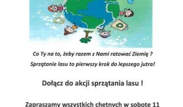 Plakat o akcji sprzątania lasu