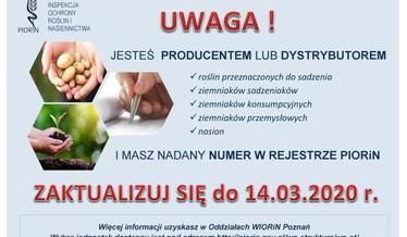 Informacja dla producentów lub dystrybutorów ziemniaków