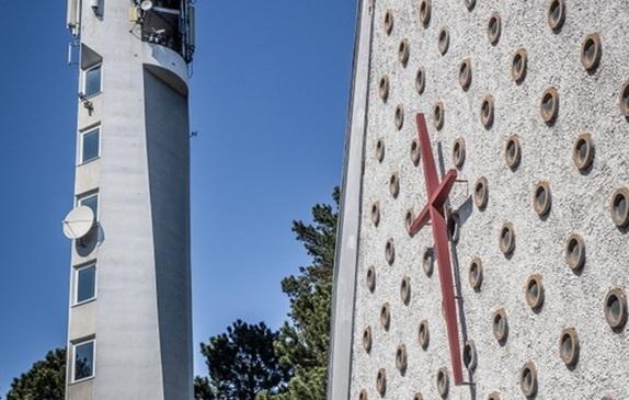 Widok Kościoła i dzwonnicy z zewnątrz