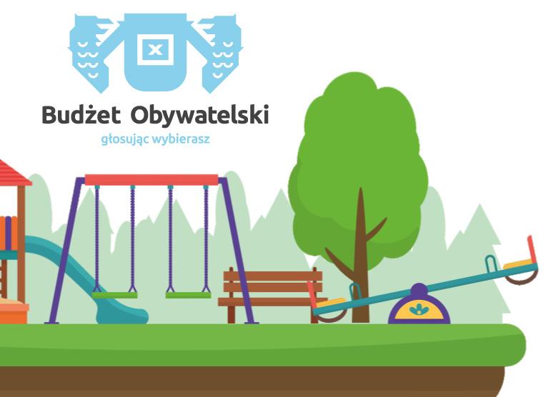 Grafika Budżetu Obywatelskiego plac zabaw i logo