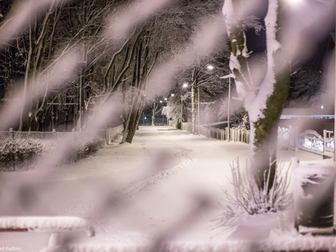 Widok traktu spacerowego przez rozmytą siatkę ogrodzeniową pokrytą śnieżną warstwą.