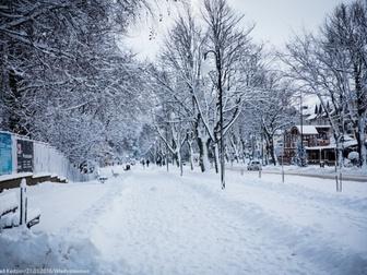 Trakt spacerowy przy Ośrodku Przygotowań Olimpijskich Cetniewo zimową porą, w ciągu dnia, pokryty wa