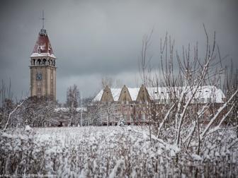 Dom Rybaka na horyzoncie, na pierwszym planie zarośla pokryte cienką warstwą śniegu.