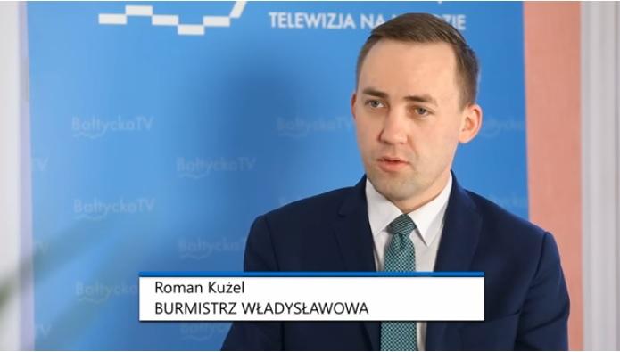 Burmistrz Władysławowa Roman Kużel w Bałtycka TV (link otworzy duże zdjęcie)
