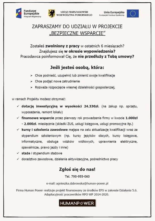 Projekt - Bezpieczne Wparcie - Dotacje na rozpoczęcie działalności gospodarczej (link otworzy duże zd