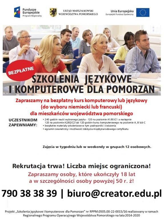 Szkolenia językowe i komputerowe dla Pomorzan - plakat (link otworzy duże zdjęcie)