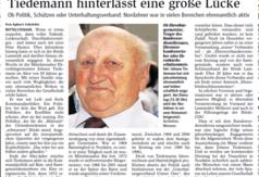 Zmarł Johann Tiedemann z Lamstedt